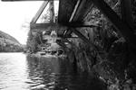 black and white cliff bridge